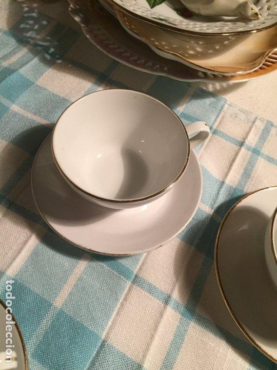 Antigüedades: Antiguo juego de café de porcelana tazas y tetera con bonito dibujo floral años 40-50 - Foto 16 - 181791473