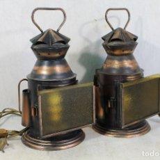 Antiquités: PAREJA DE LAMPARAS FAROLES DE TREN FERROVIARIO. Lote 181851047