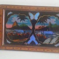 Antigüedades: BANDEJA DE MADERA Y ALAS DE MARIPOSA / BRASIL / ORIGINAL AÑOS 50. Lote 181894003