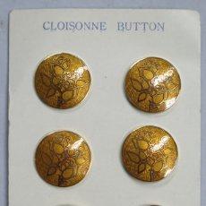 Antigüedades: CONJUNTO DE 6 BOTONES DE CLOISONNE. JAPON. MEDIADOS SIGLO XX. Lote 181932572