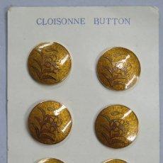 Antigüedades: CONJUNTO DE 6 BOTONES DE CLOISONNE. JAPON. MEDIADOS SIGLO XX. Lote 181932607