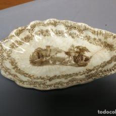 Antigüedades: RABANERERA CON DECORACION TIPO FUENTA ESTILO PICKMAN O SARGADELOS EN COLOR MARRON SIN MARCA. Lote 181940030
