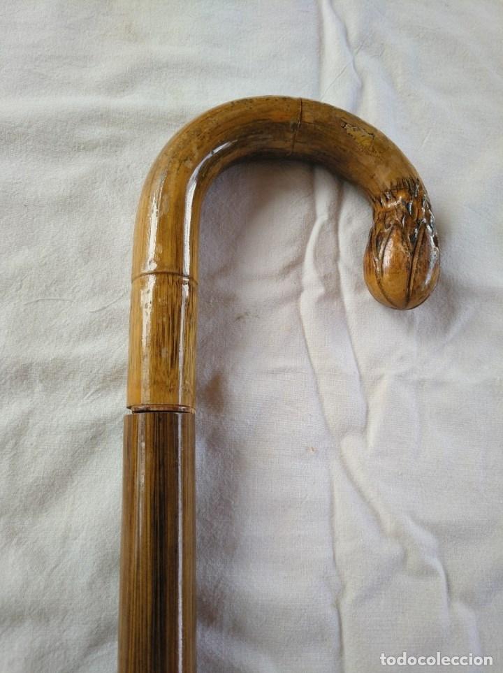 ANTIGUO BASTÓN DE DOBLE USO, EN SU INTERIOR HAY UN PARAGUAS. (Antigüedades - Moda - Bastones Antiguos)
