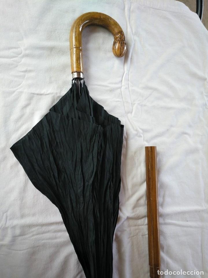 Antigüedades: ANTIGUO BASTÓN DE DOBLE USO, EN SU INTERIOR HAY UN PARAGUAS. - Foto 4 - 181944456