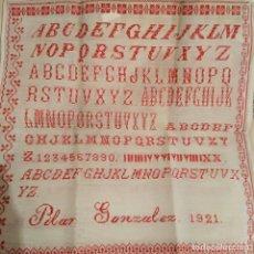 Antigüedades: TRABAJO BORDADO COSTURA. PRINCIPIOS SIGLO XX. FECHADO Y DEDICADO. 1921. Lote 181956020