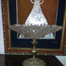 Antigüedades: CENTRO DE MESA FRUTERO METAL Y CRISTAL O VIDRIO TALLADO . Lote 181957516