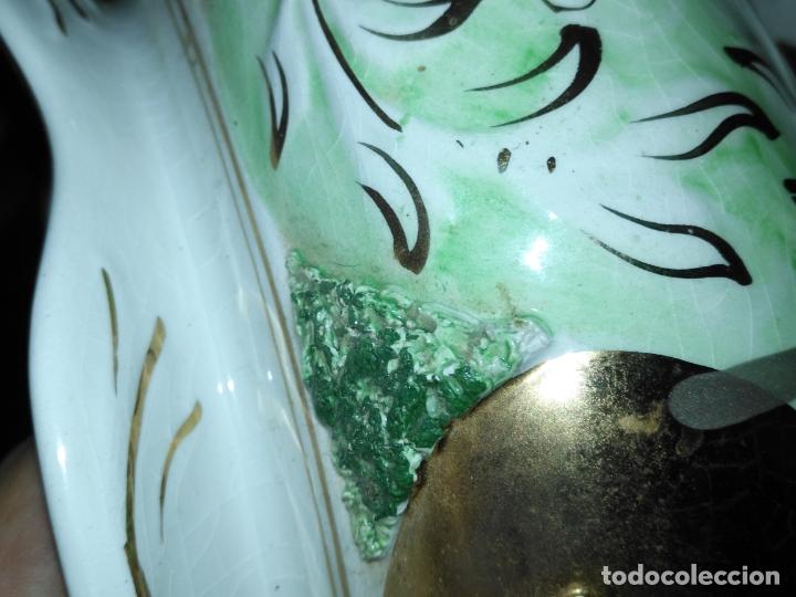 Antigüedades: Centro de mesa Pereiras Valado made in Portugal sellada sopera floral oro - Foto 8 - 181958076