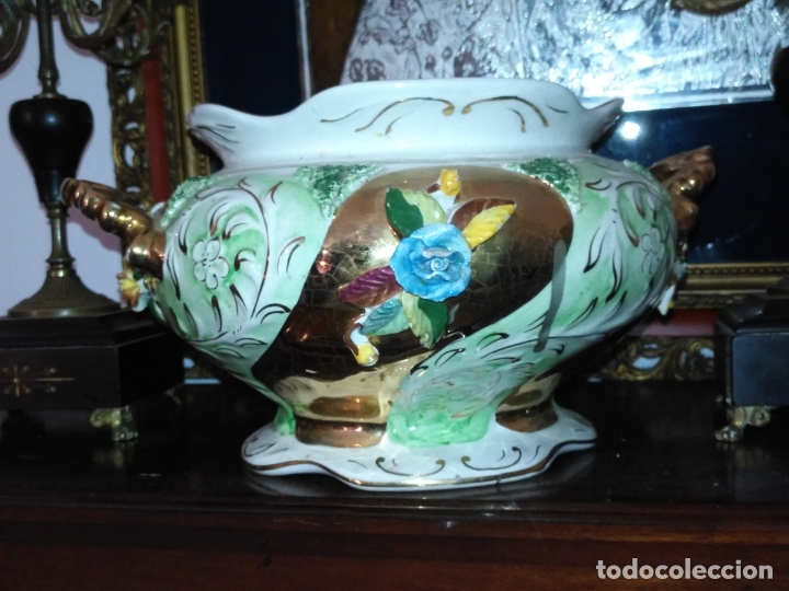 Antigüedades: Centro de mesa Pereiras Valado made in Portugal sellada sopera floral oro - Foto 11 - 181958076