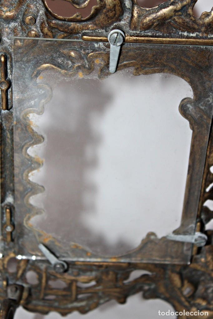 Antigüedades: Portaretratos doble de bronce años 30 (1) - Bronce - Foto 13 - 181962680