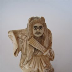 Antigüedades: NETSUKE JAPONES DE MARFIL, FIRMADO, CARA CAMBIANTE, CON CERTIFICADO DE AUTENTICIDAD, PERIODO MEIJI. Lote 181984295