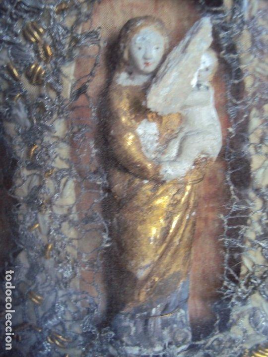 Antigüedades: (ANT-191100)ANTIGUO RELICARIO ARTESANAL MADERA Y CRISTAL - 8 RELIQUIAS - Foto 16 - 182002405