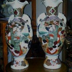 Antigüedades: JARRONES CHINOS SIGLO XIX - PORCELANA PINTADA A MANO. Lote 182038466