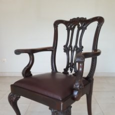 Antigüedades: ANTIGUAS SILLAS DE COMEDOR INGLESAS CAOBA CHIPPENDALE SIGLO XIX.. Lote 182039510
