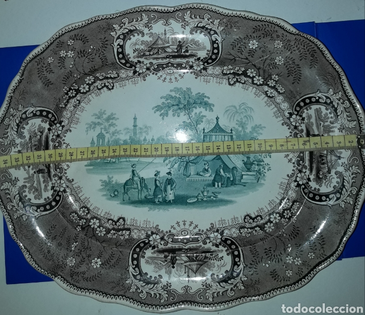 Antigüedades: Preciosa y antigua fuente de porcelana bicolor Medina TG - Foto 4 - 182044458