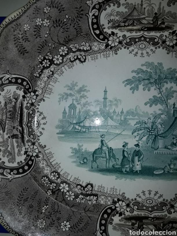 Antigüedades: Preciosa y antigua fuente de porcelana bicolor Medina TG - Foto 5 - 182044458