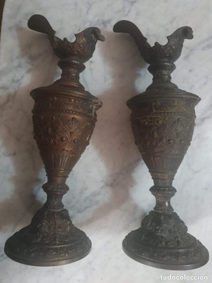 Antigüedades: Pareja de candeladros muy antiguos ver fotos para ver estado - Foto 19 - 182075351