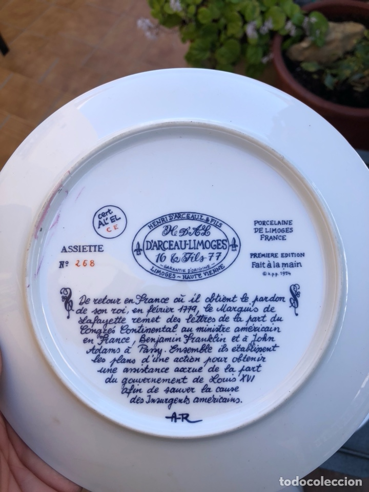 Antigüedades: Lote de 2 platos porcelana de limoges, numerada - Foto 10 - 182077306