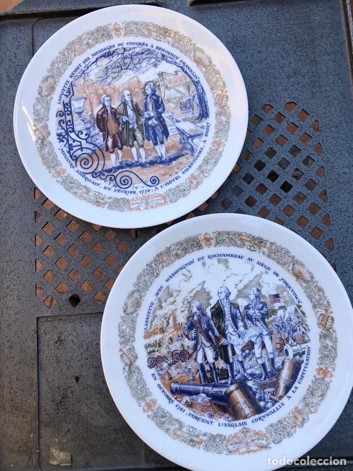 LOTE DE 2 PLATOS PORCELANA DE LIMOGES, NUMERADA (Antigüedades - Porcelana y Cerámica - Francesa - Limoges)