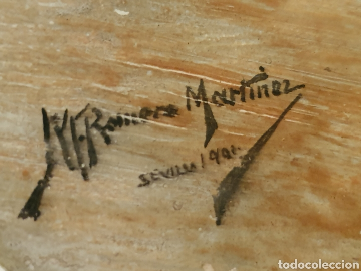 Antigüedades: PRECIOSO PLATO PINTADO Y FIRMADO CON VISTAS AL PUENTE DE TRIANA Y LA GIRALDA DE SEVILLA - Foto 3 - 182080885