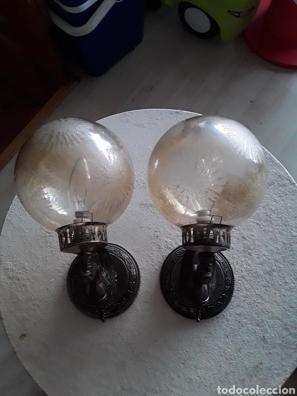 MARAVILLOSOS APLIQUES AÑOS 40 METAL Y CRISTAL TALLADO (Antigüedades - Iluminación - Apliques Antiguos)
