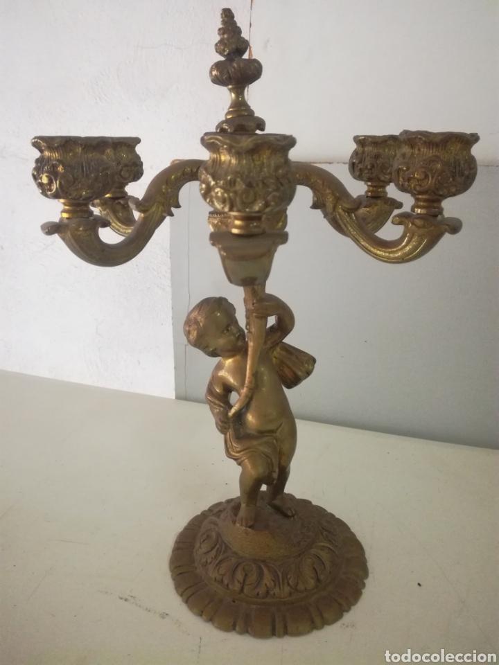CANDELABRO EN BRONCE. VELAS O ELECTRIFICACION (Antigüedades - Iluminación - Candelabros Antiguos)
