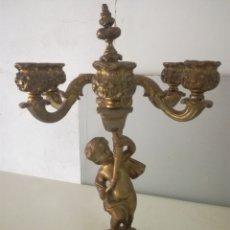 Antigüedades: CANDELABRO EN BRONCE. VELAS O ELECTRIFICACION. Lote 182138928