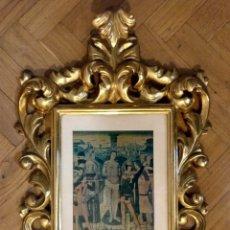 Antigüedades: MARCO DE MADERA TALLADA Y DORADA TIPO CORNUCOPIA 30 47 CM (APROX). Lote 182158991