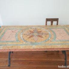 Antigüedades: MESA DE MÁRMOL Y HIERRO FORJADO. Lote 182159693