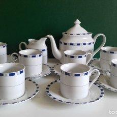 Antigüedades: JUEGO DE CAFÉ DE PORCELANA FINA / 8 TAZAS, 8 PLATOS, CAFETERA, LECHERA /NUEVO. Lote 182169411