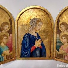 Antigüedades: TRIPTICO RELIGIOSO SOBRE MADERA FIRMADO M. VITA PAN DE ORO. Lote 182169467