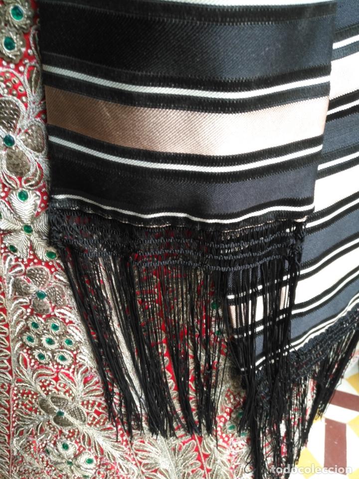 Antigüedades: fajin para virgen tamaño natural difuntos hebrea san juan semana santa mas de 3 metros rayas flecos - Foto 6 - 182218215