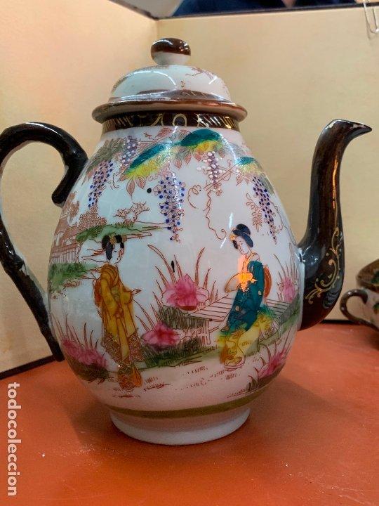 Antigüedades: Antiguo juego de te o cafe en porcelana Satsuma de Japon, cascara de huevo. - Foto 3 - 182226467