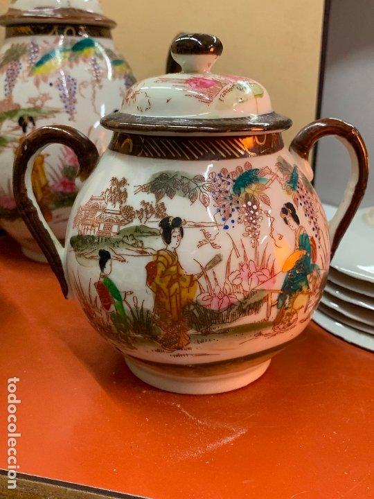 Antigüedades: Antiguo juego de te o cafe en porcelana Satsuma de Japon, cascara de huevo. - Foto 4 - 182226467