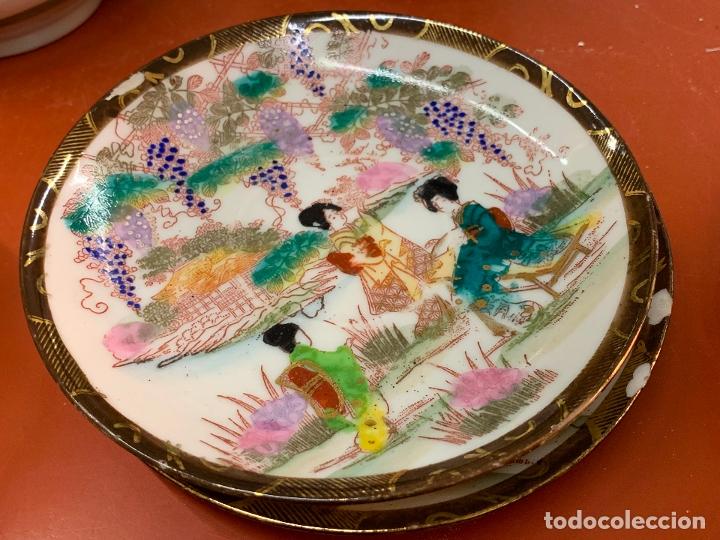 Antigüedades: Antiguo juego de te o cafe en porcelana Satsuma de Japon, cascara de huevo. - Foto 5 - 182226467