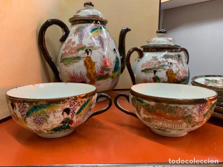 Antigüedades: Antiguo juego de te o cafe en porcelana Satsuma de Japon, cascara de huevo. - Foto 6 - 182226467