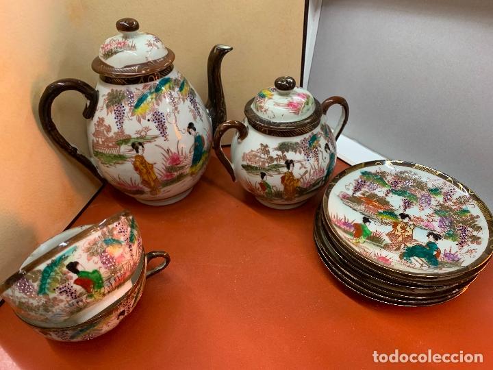 Antigüedades: Antiguo juego de te o cafe en porcelana Satsuma de Japon, cascara de huevo. - Foto 7 - 182226467