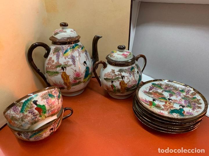 Antigüedades: Antiguo juego de te o cafe en porcelana Satsuma de Japon, cascara de huevo. - Foto 8 - 182226467