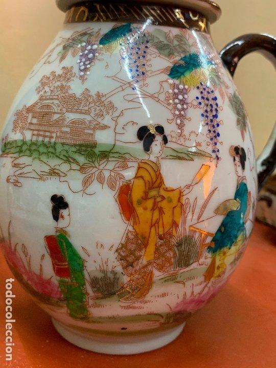 Antigüedades: Antiguo juego de te o cafe en porcelana Satsuma de Japon, cascara de huevo. - Foto 10 - 182226467