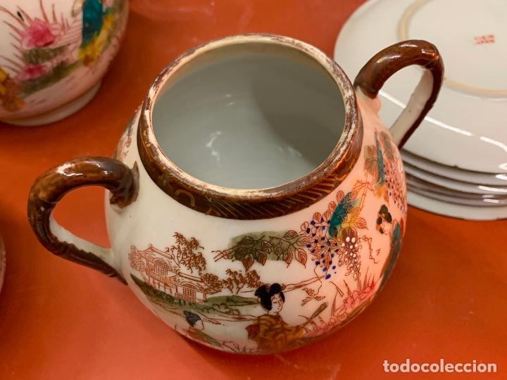 Antigüedades: Antiguo juego de te o cafe en porcelana Satsuma de Japon, cascara de huevo. - Foto 19 - 182226467
