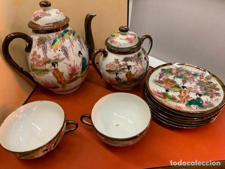 Antigüedades: Antiguo juego de te o cafe en porcelana Satsuma de Japon, cascara de huevo. - Foto 21 - 182226467