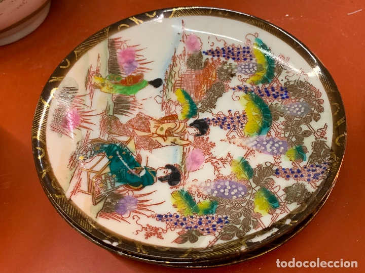 Antigüedades: Antiguo juego de te o cafe en porcelana Satsuma de Japon, cascara de huevo. - Foto 25 - 182226467