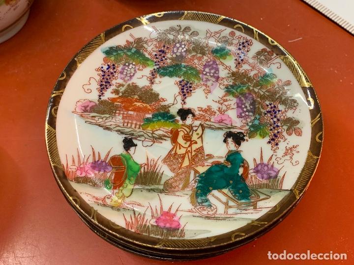 Antigüedades: Antiguo juego de te o cafe en porcelana Satsuma de Japon, cascara de huevo. - Foto 28 - 182226467