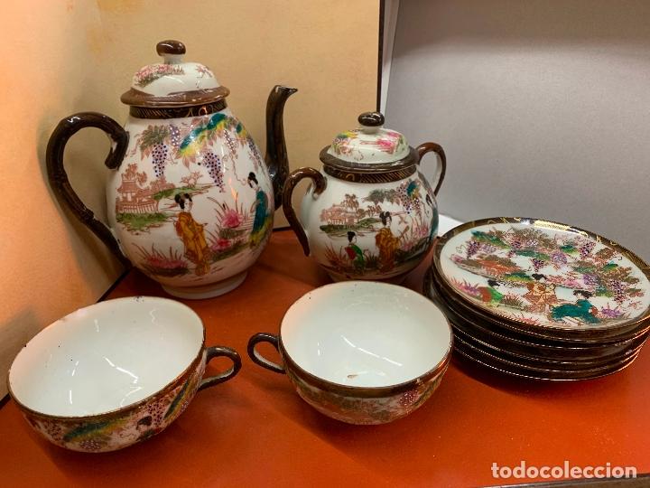 ANTIGUO JUEGO DE TE O CAFE EN PORCELANA SATSUMA DE JAPON, CASCARA DE HUEVO. (Antigüedades - Porcelana y Cerámica - Japón)