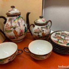 Antigüedades: ANTIGUO JUEGO DE TE O CAFE EN PORCELANA SATSUMA DE JAPON, CASCARA DE HUEVO.. Lote 182226467