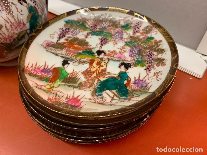 Antigüedades: Antiguo juego de te o cafe en porcelana Satsuma de Japon, cascara de huevo. - Foto 29 - 182226467
