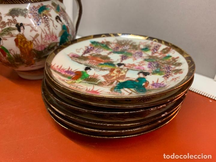 Antigüedades: Antiguo juego de te o cafe en porcelana Satsuma de Japon, cascara de huevo. - Foto 30 - 182226467