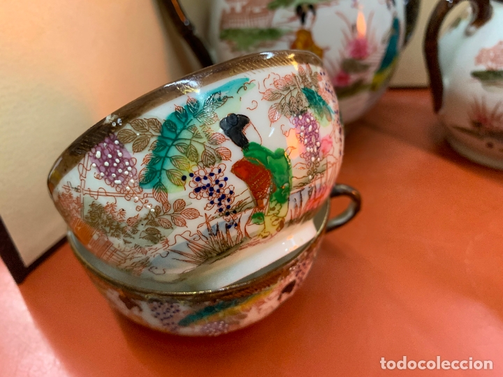 Antigüedades: Antiguo juego de te o cafe en porcelana Satsuma de Japon, cascara de huevo. - Foto 31 - 182226467