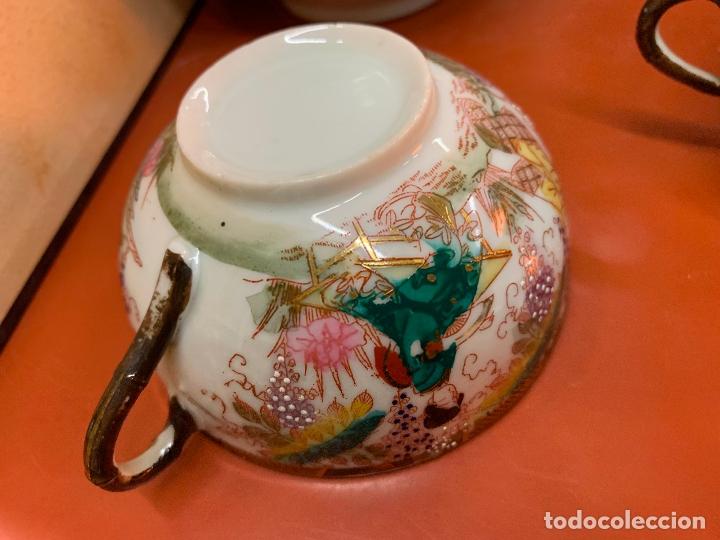 Antigüedades: Antiguo juego de te o cafe en porcelana Satsuma de Japon, cascara de huevo. - Foto 32 - 182226467