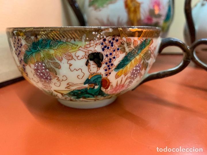 Antigüedades: Antiguo juego de te o cafe en porcelana Satsuma de Japon, cascara de huevo. - Foto 33 - 182226467