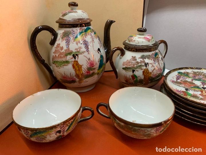 Antigüedades: Antiguo juego de te o cafe en porcelana Satsuma de Japon, cascara de huevo. - Foto 39 - 182226467